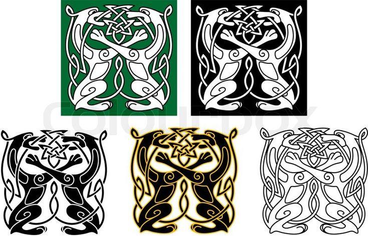 Stock-Vektor von 'Keltische Hunde und Wölfe'