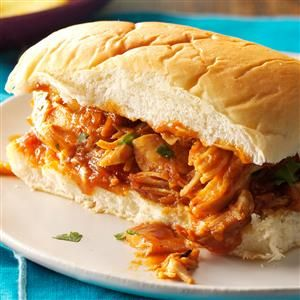 Polynesian Pulled Chicken Recipe -I love the aroma of pork as it cooks but don't eat pork, so I make a pulled chicken with coconut and pineapple for a Polynesian twist. —Becky Walch, Manteca, California