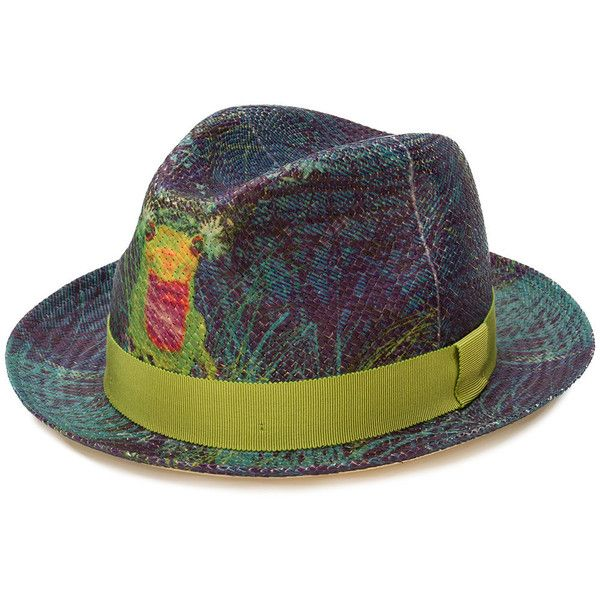 Etro printed fedora ($310) ❤ liked on Polyvore featuring men's fashion, men's accessories, men's hats, multicolour, mens fedora hats, mens straw fedora hats and mens straw hats