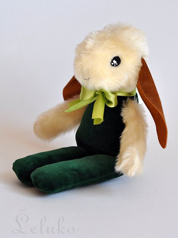 OOAK plush bunny toy white hare 10 stuffed animal by LelukoToys, $33.00