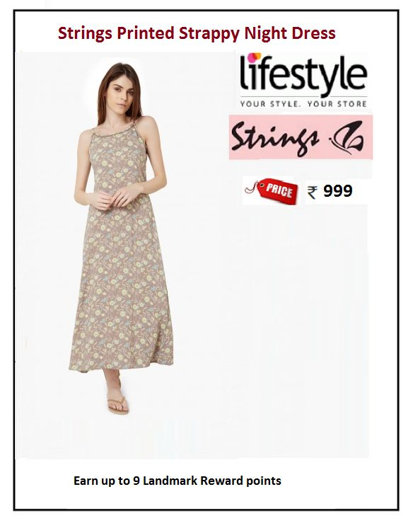 #Strings #Printed #Strappy #Night #Dress  #Type : Night gowns #Price: ₹999.00 #Fabric : Rayon