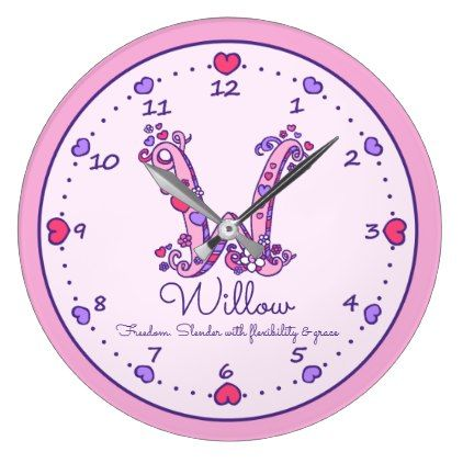 Monogram W hearts girls name meaning pink clock - decor gifts diy home & living cyo giftidea