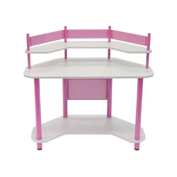 Studio Designs Calico Pink Study Corner Desk ($149) ❤ liked on Polyvore featuring home, furniture, desks, home storage furniture, home office computer desk, storage shelving, compact desk and computer writing desk