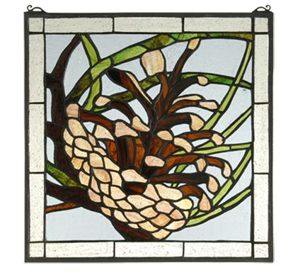 "12""H X 12""W Square Pine cone Stained Glass Window.This great window contains 235 Pieces of hand cut glass, to create a beautiful pinecone design.Perfect for cabin or cottage decorating.Click here to view all rustic stained glass windows by Meyda Tiffany."