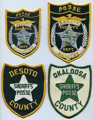 Lot of (4) Different Vintage  FLORIDA SHERIFF POSSE Police Patches