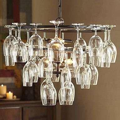 240W Pendant Light with 6 Lights in Wine Glass Feature