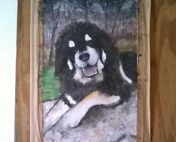 Watercolor Portrait Custom Dog Painting Original Fine Art Tibetan Mastiff Personalized Gift Dog Lovers #custom #portrait #watercolor #dog