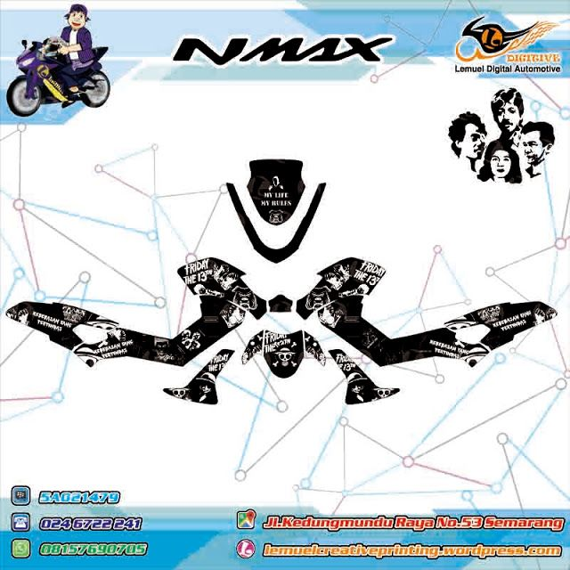 Custom Decal Vinyl Striping Motor Full Body Yamaha NMAX Thema HAM Black White by DIGITIVE