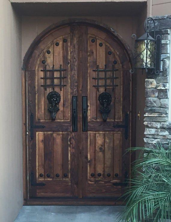 Reclaimed Lumber Rustic Arched Double Doors Comes W Hand Etsy Double Doors Reclaimed Lumber Castle Doors