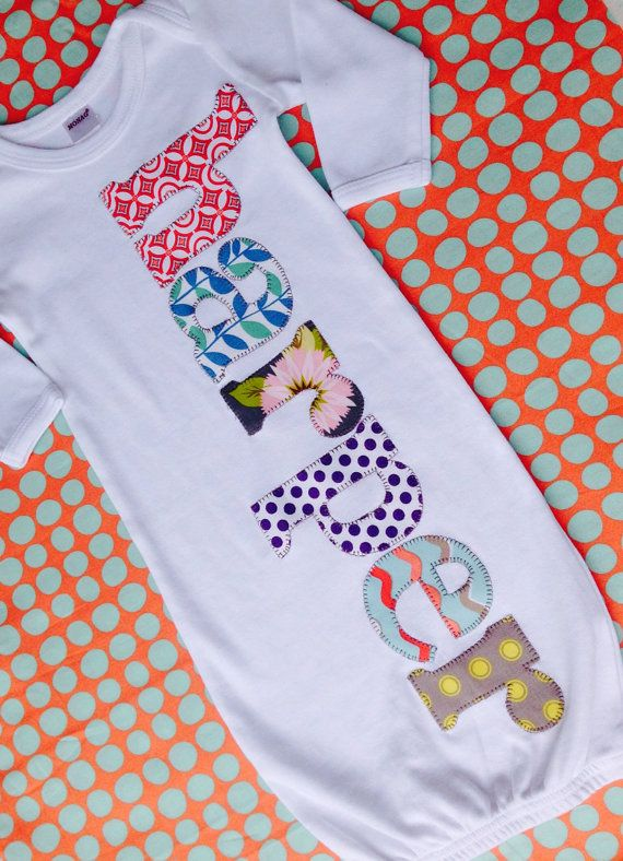 sweet sprouts girls personalized name newborn gown! the perfect baby shower gift!