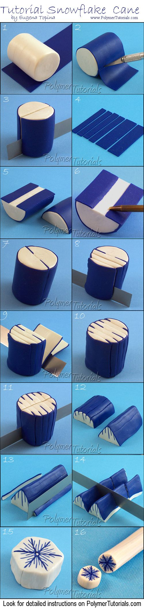 Gratis arcilla del polímero del Tutorial del copo de nieve del bastón