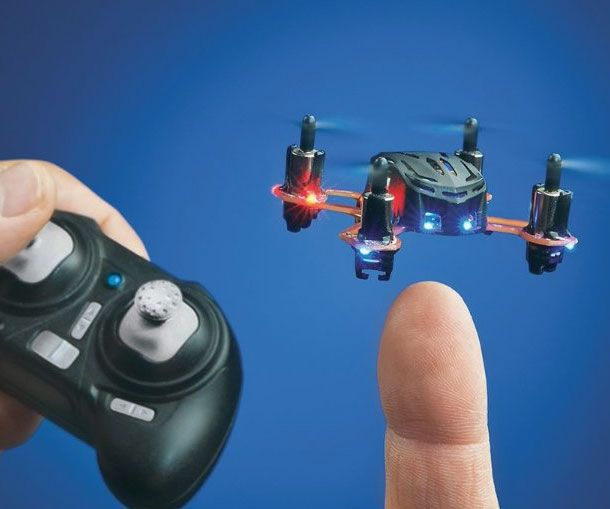 Don't let its size fool you, the nano remote control quadrocopter provides big time fun without breaking the bank. LED lights at each end help you identify the front and back while its small size makes the nano quadrocopter ideal for indoor use.