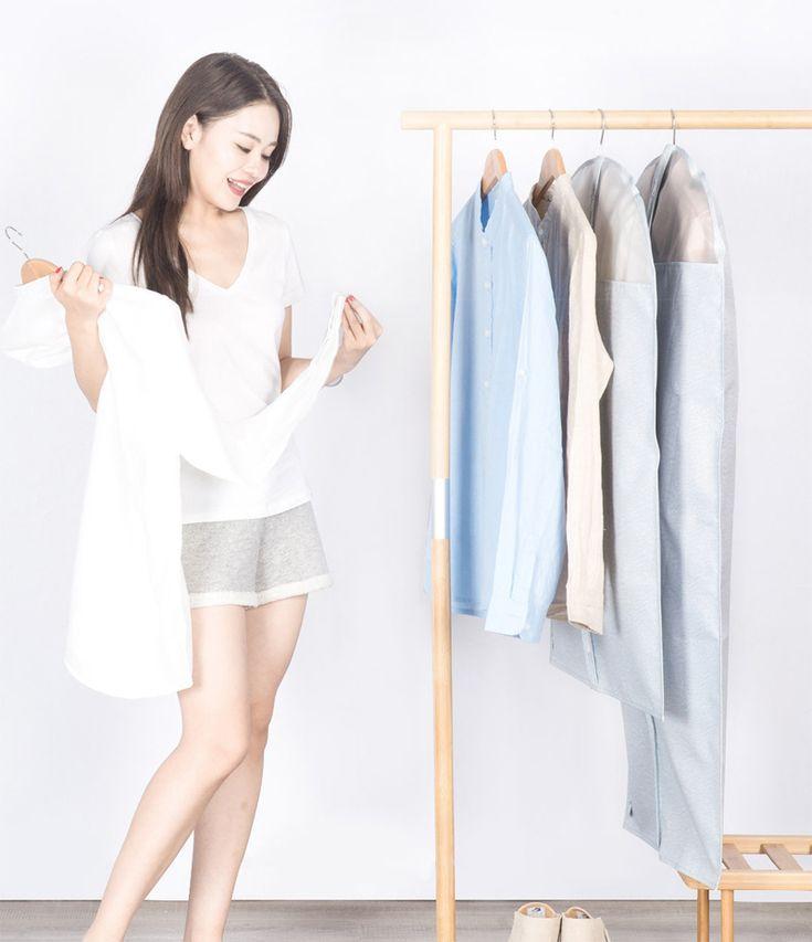 Original Xiaomi Mi Home 2PCS Garment Clothes Covers Protector Breathable Dustproof Waterproof Hanging Clothes Storage Bag for Coat Dress Windcoat Closet Organizer Windcoat Closet Organizer
