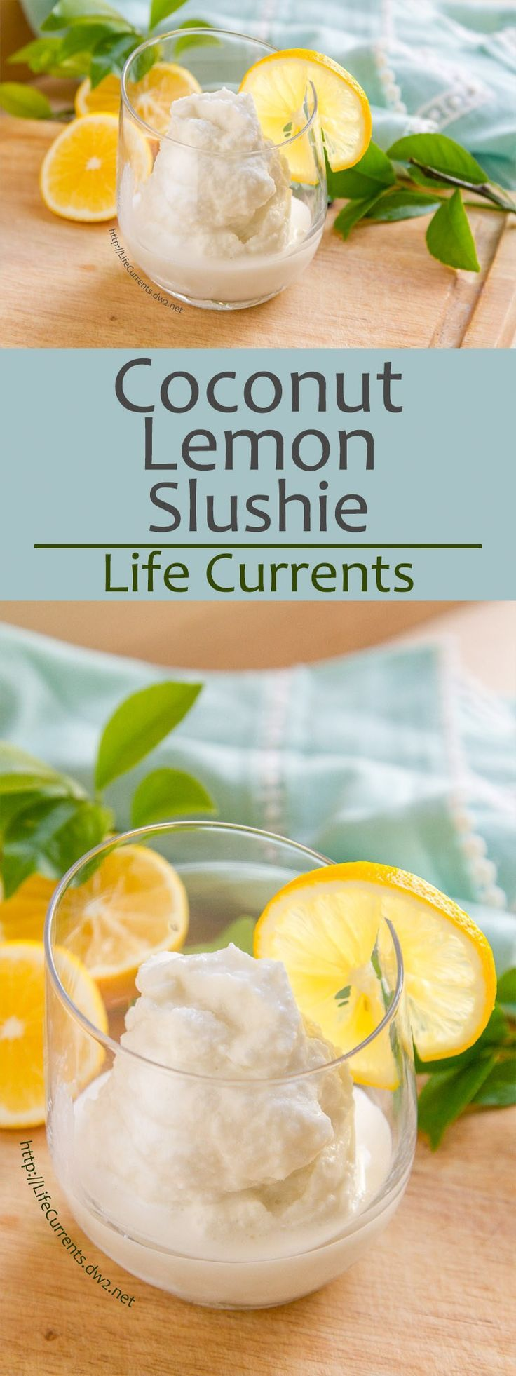 Coconut Lemon Slushie -- a refreshing creamy frozen coconut lemonade treat that's super easy to make, even the kids will jump in! by Life Currents