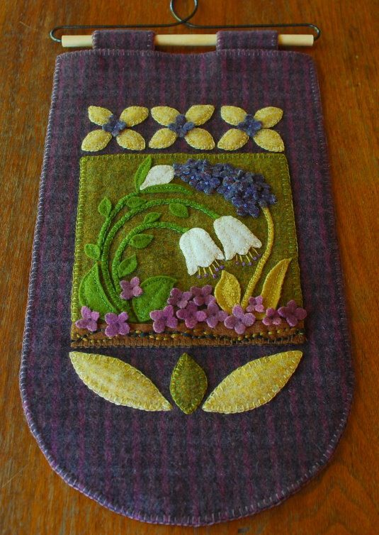Wool applique wall hanging snowdrops folk by HorseAndBuggyCountry
