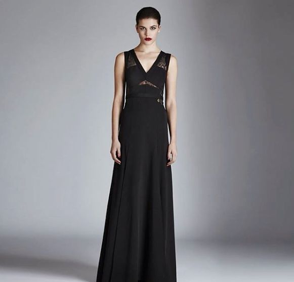 """This Saturday Long sophisticated dress """"Yukon"""", embellished with cuts and lace inserts available in stores and online"""