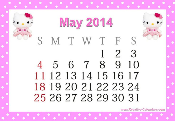 hello kitty may 2014 calendar | 2014 Monthly Calendars