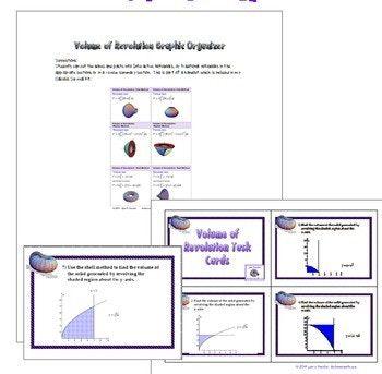 Calculus: Volume of Revolution Task Cards, Test, Worksheet, Graphic Organizer