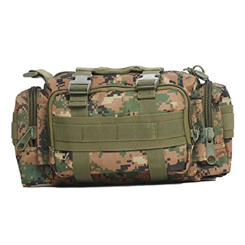 Tactical Waist Pack Deployment Bag Military Molle BicycleMotorcycle 3P Waterproof Fanny Packs Camera Bag Camo EDC Utility Pouch Heavy Duty with Shoulder Strap Hand Carry Forest Digital Camouflage *** Check out this great product.