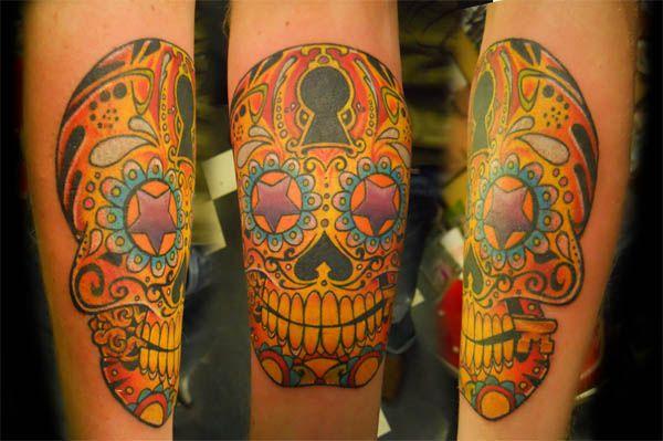 Day of the Dead Sugar Skull TattooKeys Hole, Tattoo Discrimination, Practice Tattoo, Sugar Skull Tattoo, Skull Tattoos, Tattoo Tattoo, Tattoo Collection, Tattoo Ink, Dead Sugar