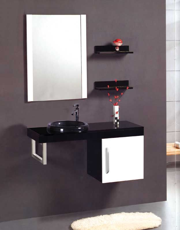Black White Bathroom Vanity Cabinet Remodel Glass Sink Above