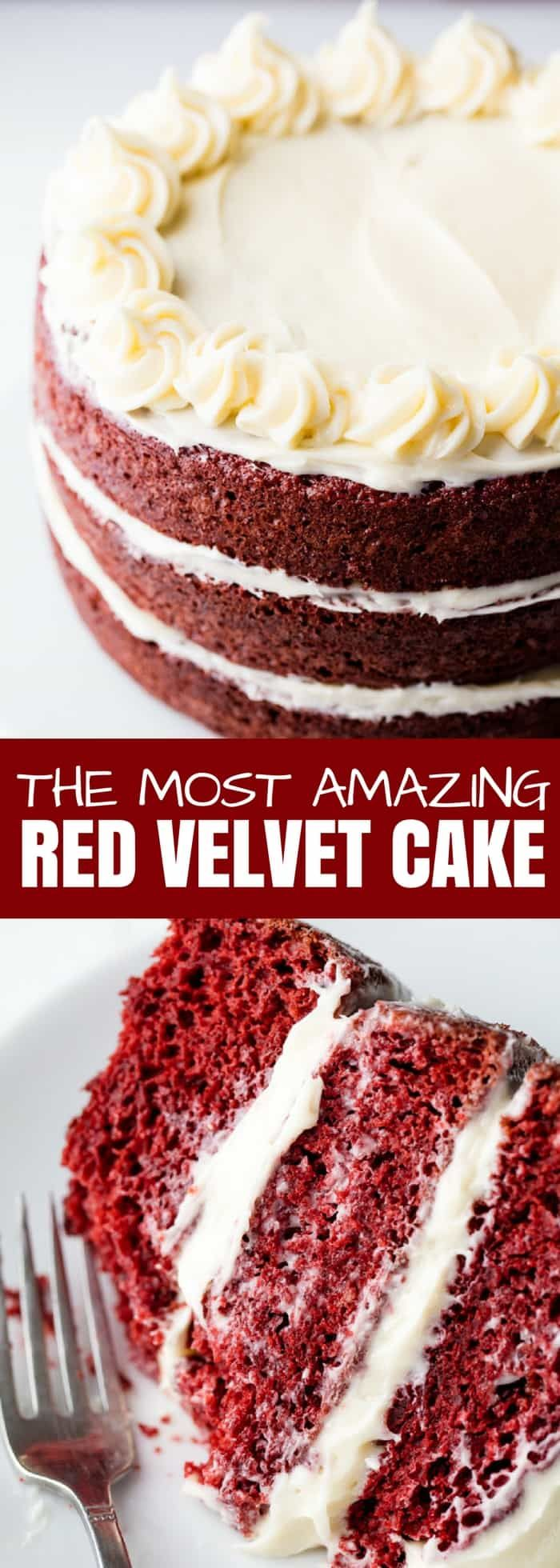 The Most Amazing Red Velvet Cake recipe is moist, fluffy, and has the perfect balance between acidity and chocolate. Top it off with cream cheeses frosting for the perfect Red Velvet Cake you've been dreaming of! #redvelvet #cake #dessert