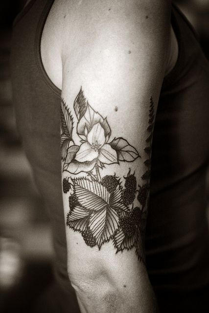 Blackberry and Fern Botanical Tattoo | Alice Carrier with Anatomy Tattoo - Portland, OR.