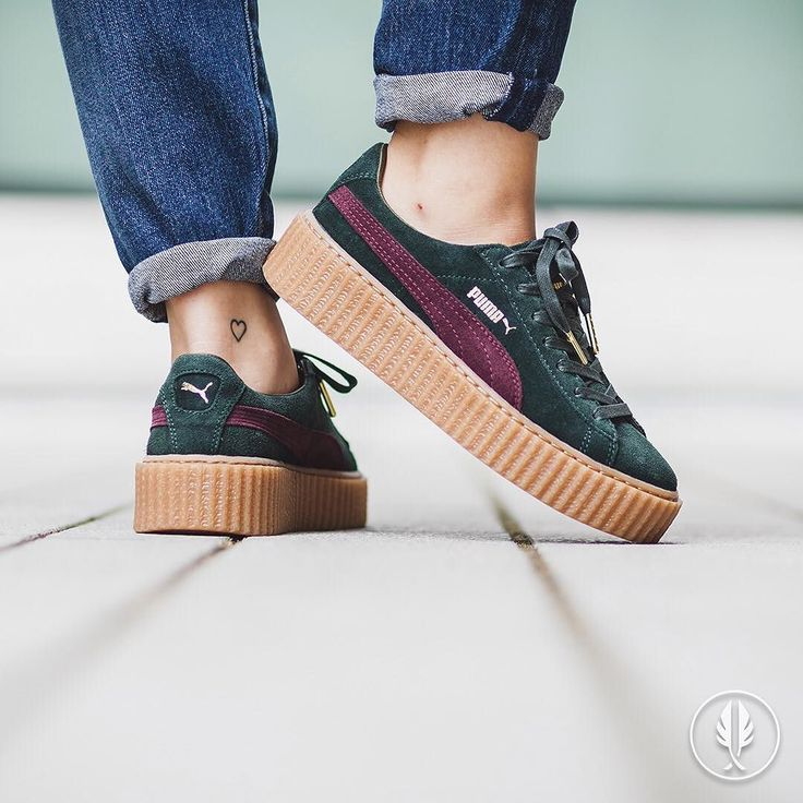 """RELEASE REMINDER """"Puma x Rihanna Suede Creepers"""" Green Bordeaux 