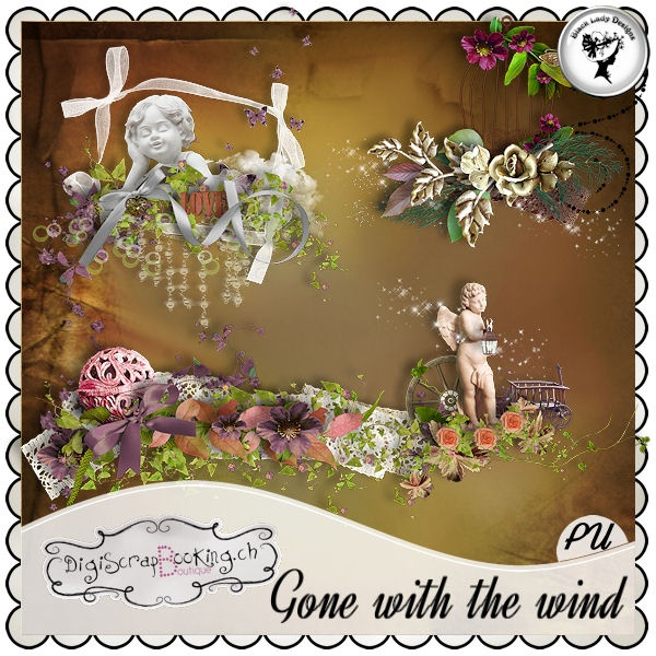 Gone with the wind - Embellishments by Black Lady Designs