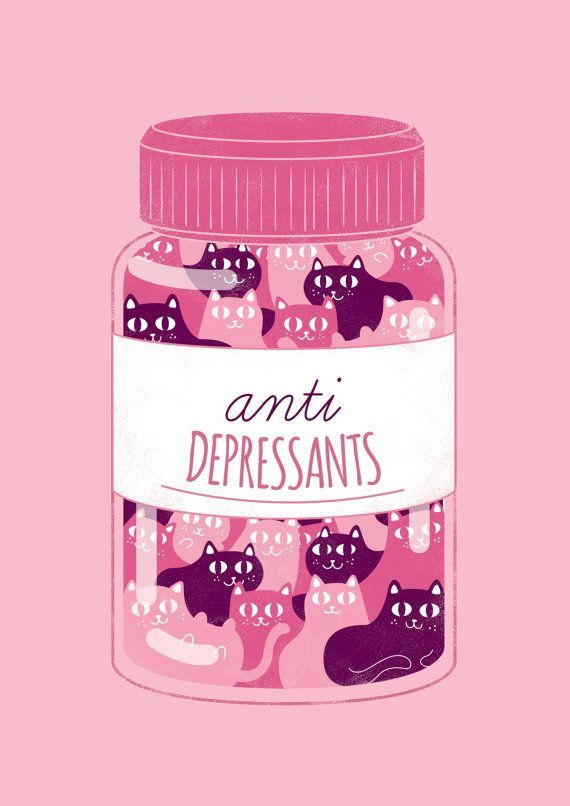 Pink anti depressants cat poster by WeAreExtinct on Etsy