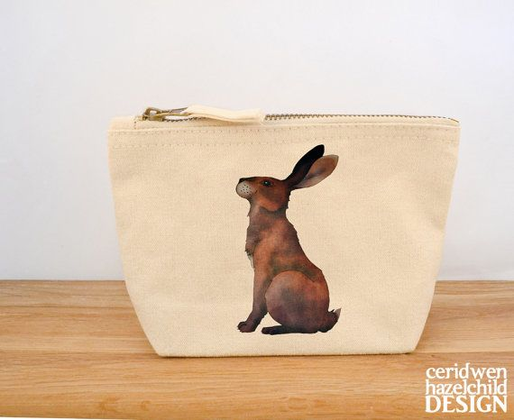 Hare Canvas Zip Purse Makeup Bag Coin Purse Small Accessory Pouch by ceridwenDESIGN http://ift.tt/1TdxCaA