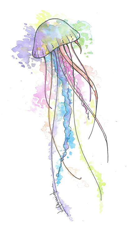 #jellyfish #watercolor This is cool! wonder if I can use style for cover up in…