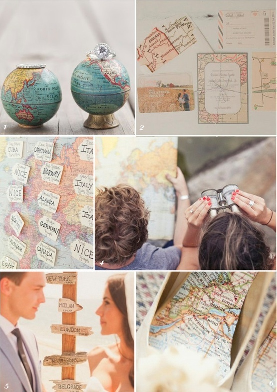 i also love all things maps. the bottom right hand pictures reminds me of the journals i made...i'm trying to think of a way something with maps could be part of a centerpiece? also the signpost with different cities is cool - it's like what was in our room senior yr - but maybe better for an outside wedding