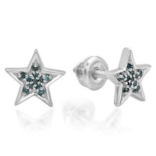 Shop for Elora Sterling Silver 1/10ct TDW Blue Diamond Star Shape Fashion Stud Earrings. Free Shipping on orders over $45 at Overstock.com - Your Online Jewelry Destination! Get 5% in rewards with Club O!