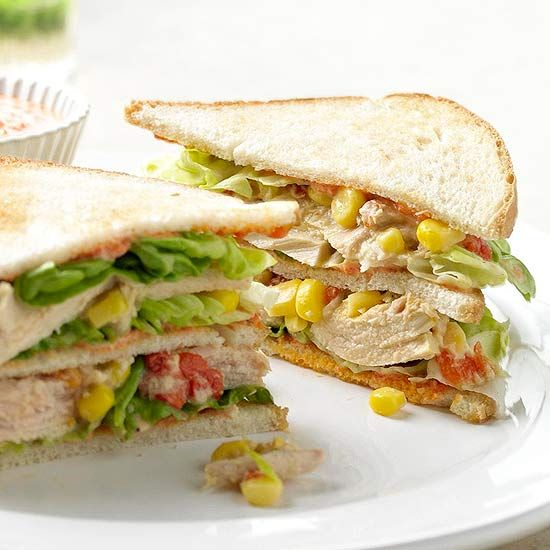 Tuna Club Sandwiches with Roasted Pepper Sauce from the Better Homes and Gardens Must-Have Recipes App