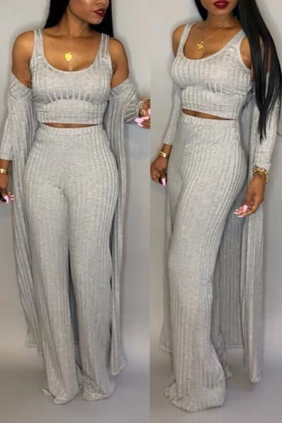 Casual U Neck Two-piece Pants Set (With Coat)