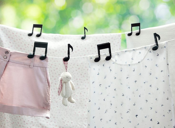 the 'musiclips' make hanging laundry a joyful task, simply choose a song, sing-along and let the music play!