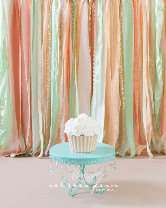 Coral Peach Mint With Gold Sparkle Sequin Fabric Backdrop