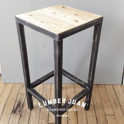 Reclaimed Wood And Steel Bar Stools By Lumberjuan On Etsy