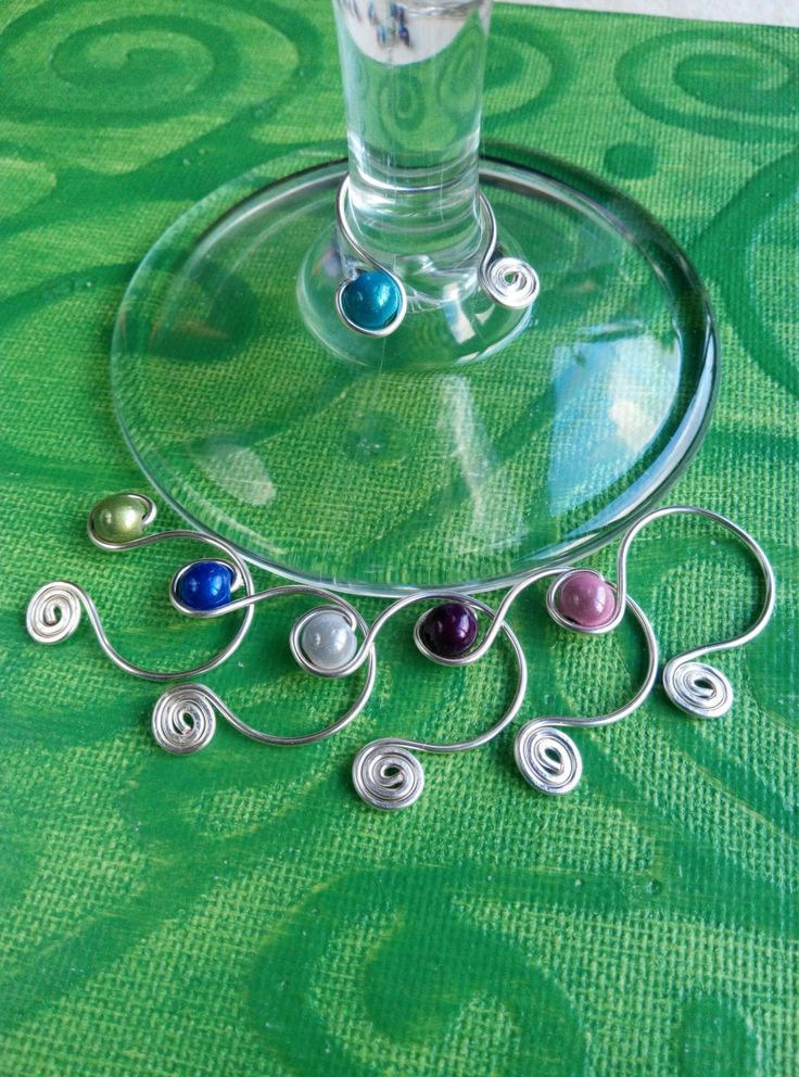 wine glass charms cool blues.  made in ireland. by terramor on Etsy