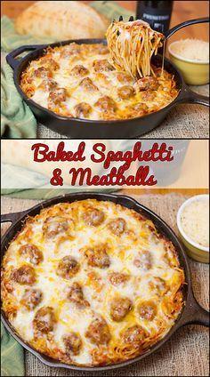 Gebackene Spaghetti & Fleischbällchen