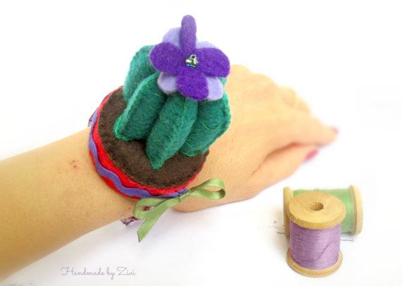 Cactus Felt Pincushion, Bracelet Pincushion, Felt Pincushion, Miniature Cactus, Gifts For Quilter, Potted Cactus, Succulent Gifts