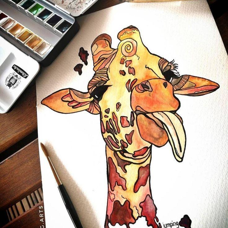Arte de girafa dando lingua. #arte #desenho #art #girafa #colorida #tatuagem