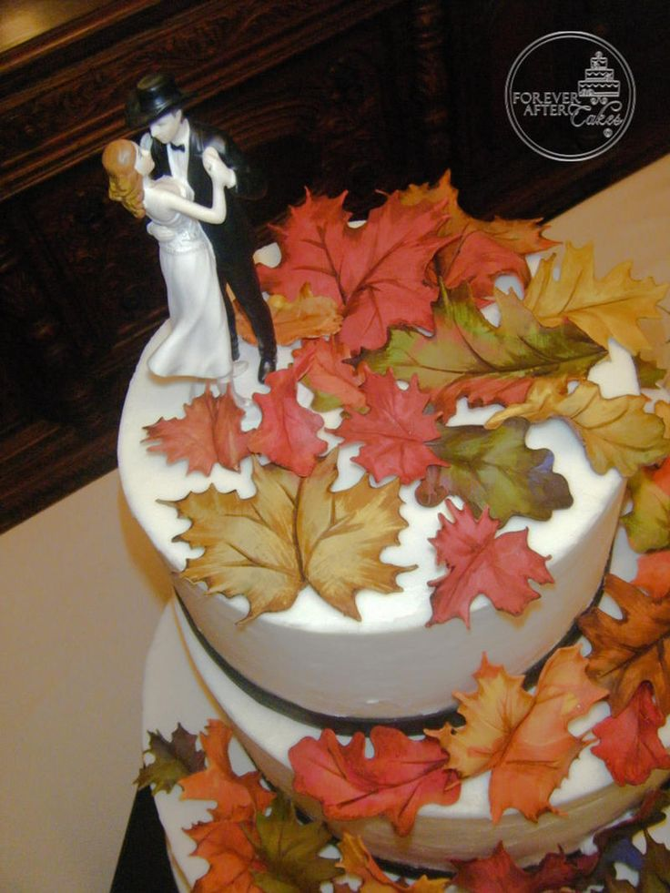 shabby chic bridal shower cakes%0A Forever After Cakes  Round Wedding Cake with Handmade Fall Leaves