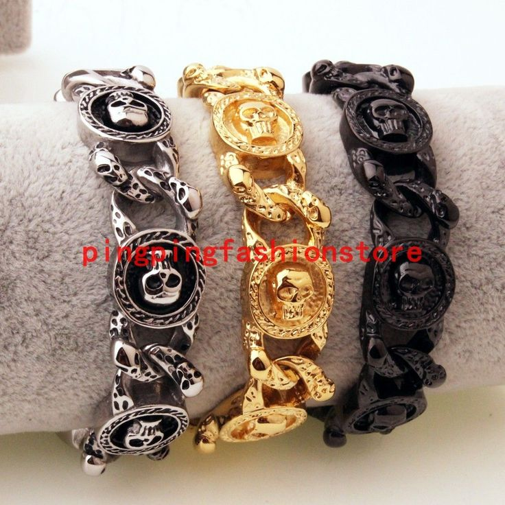 15Mm Hot Stainless Steel Silver Gold Black Skull Motor Chain Mens Bracelet 8.66""