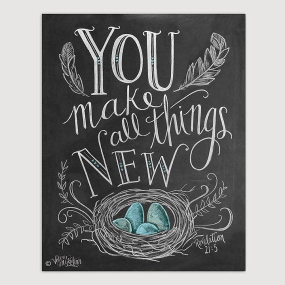 Spring Print - Easter Print - Birds Nest - Robins Egg Blue Decor -  You Make All Things New - Feather Illustration - Scripture Art