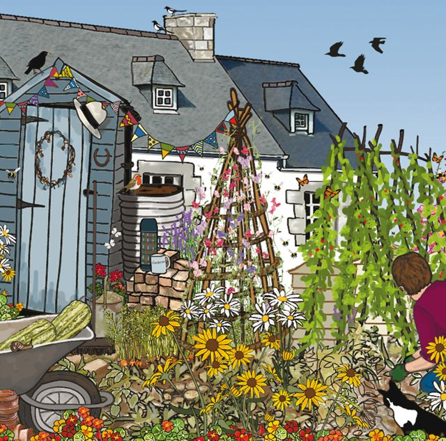 'The Gardener' By Graphic Artist Mig Wyeth. Blank Art Cards By Green Pebble. www.greenpebble.co.uk
