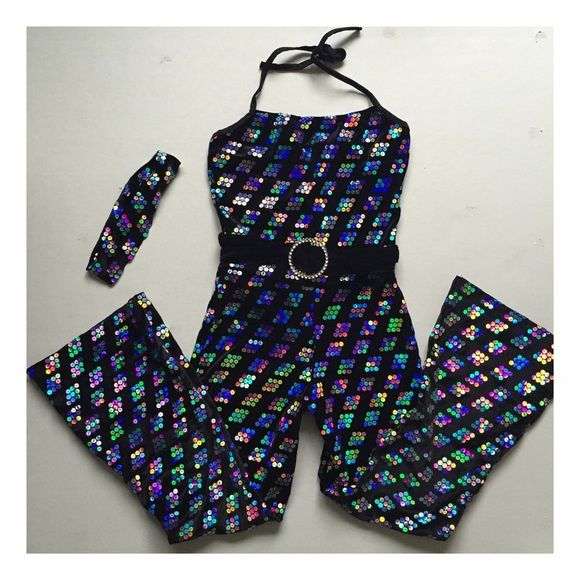 Sparkly Costume Jumpsuit Child large. With headband and velvet waistband. Costumes Dance