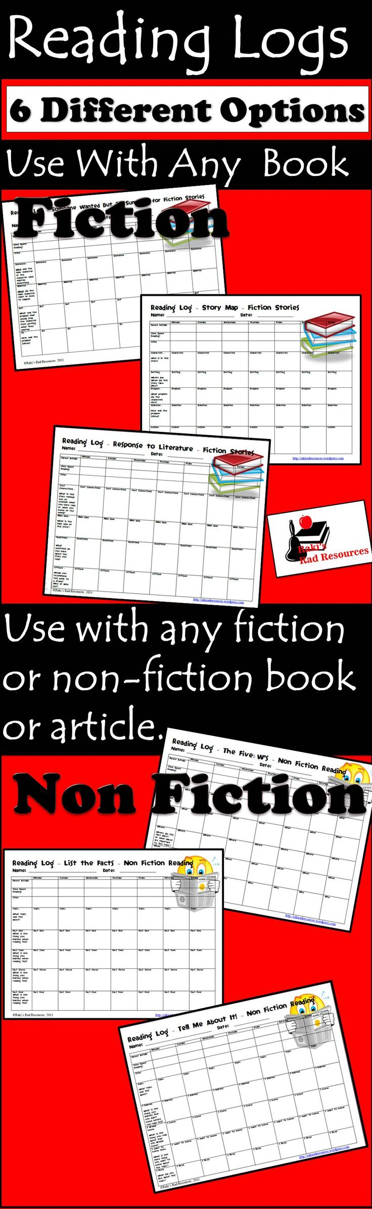 Use these weekly reading logs to let students show they have read with more than a title and author.  Choose a fiction and a non -fiction, copy them back to back and kids have a great option - no matter what they choose to read.  Download all 6 for just $6.00.