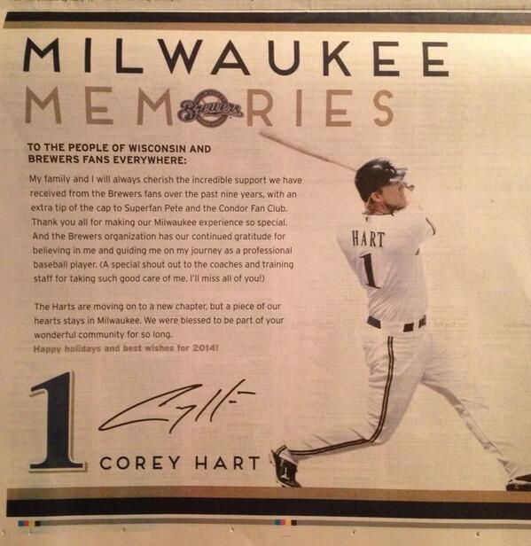 Corey Hart takes out newspaper ad to thank Milwaukee Brewers fans